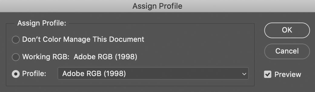Photoshop - Assign Profile. Adobe RGB
