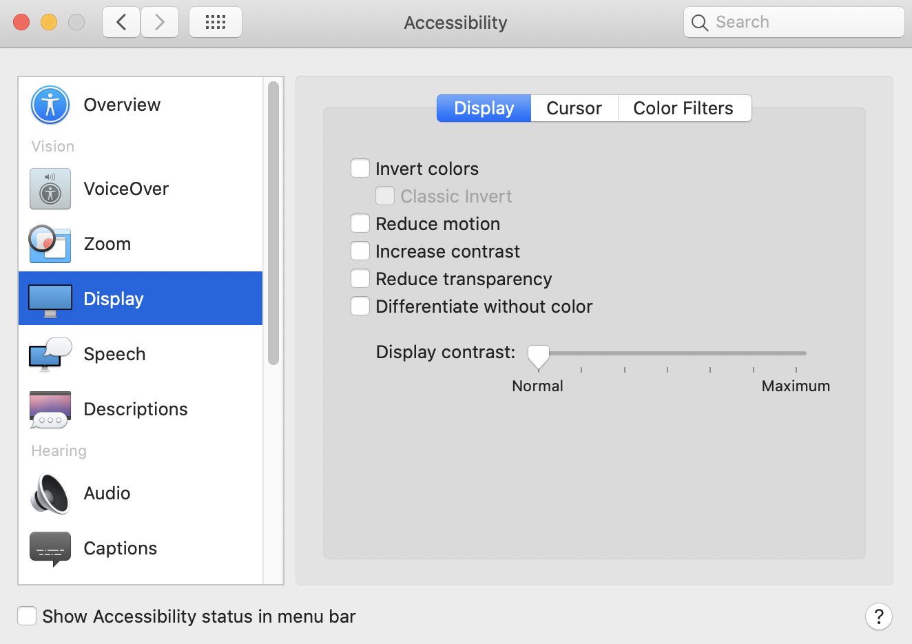 system preferences - accessibility