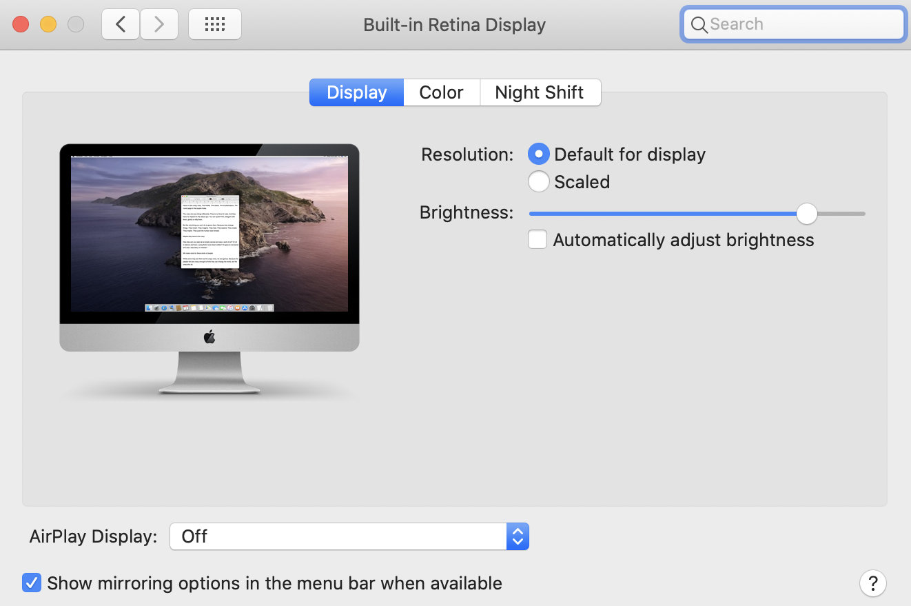 system preferences - display