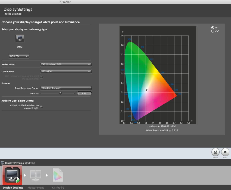 i1profiler - display settings